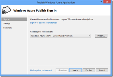 Windows Azure Publish Sign In