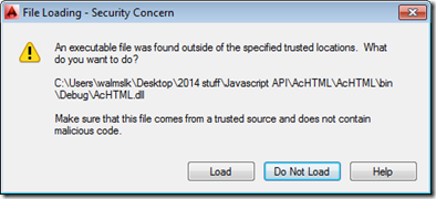 Security dialog in AutoCAD 2014