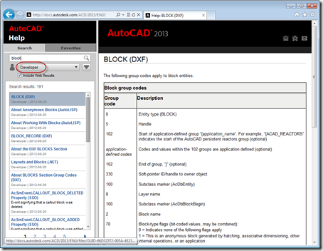 Filter for developer content in AutoCAD 2013's updated online Help