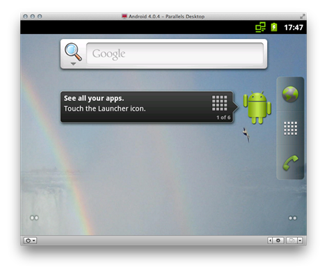 A Parallels VM running Android