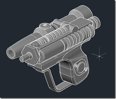 Imperial Scout Blaster inside AutoCAD - shades of gray