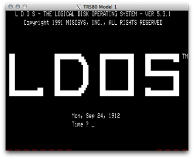 LDOS on the TRS-80 Model I via SDLTRS