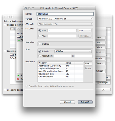 The virtual device settings