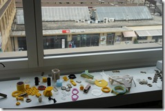 3D prints on the window ledge overlooking the train station
