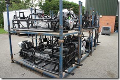 Some 3 Wheeler chassis, waiting in the factory yard