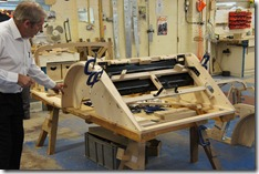 The frame of a classic Morgan under construction