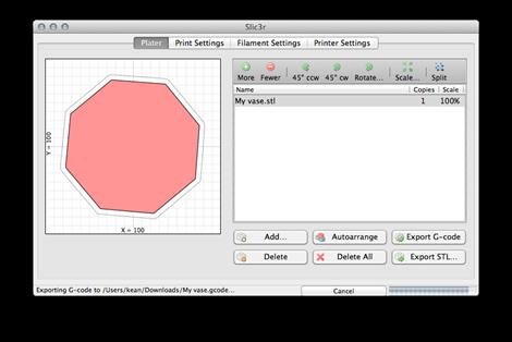 Generating GCODE using Slic3r