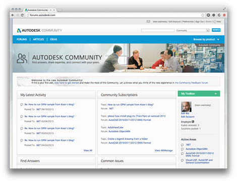 Autodesk Community welcome page