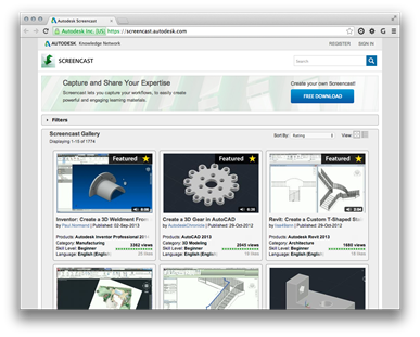 Autodesk Screencast site