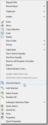 Table export context menu item added