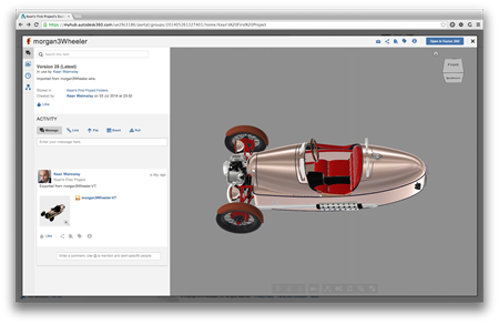 Our Fusion 360 model in the Autodesk 360 viewer