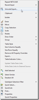 Table export context menu item added for table objects