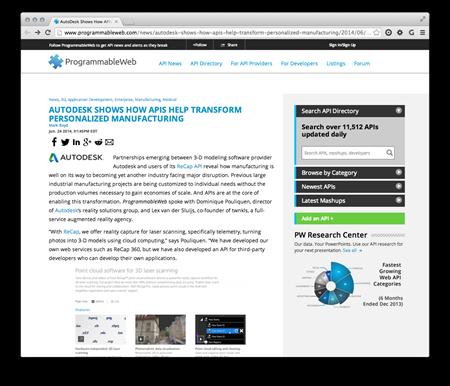 Programmable Web article on ReCap API