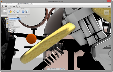 A view from the front in Fusion 360