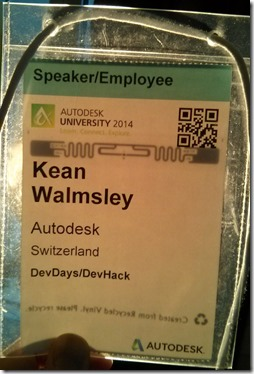 My AU 2014 badge, held up to the light