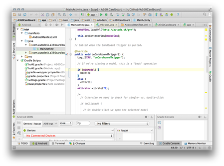 Cardboard SDK project inside Android Studio