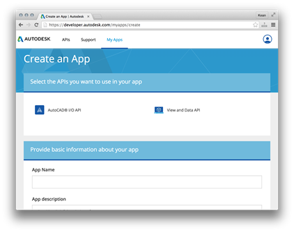 Choose your API and name your App