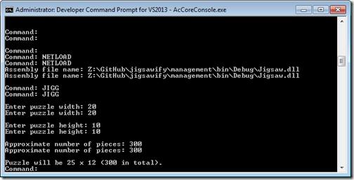 JIGG command in the Core Console