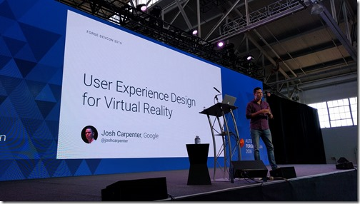 Josh on-stage at the first VR session