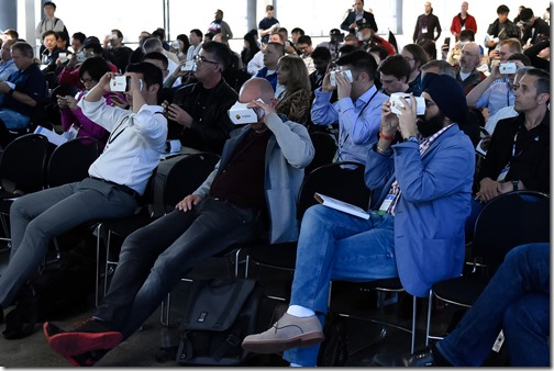 The audience immersed in collaborative VR