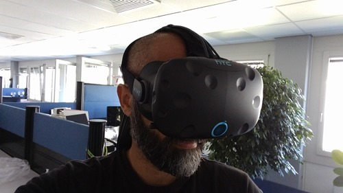 Trying out the fit of the HTC Vive