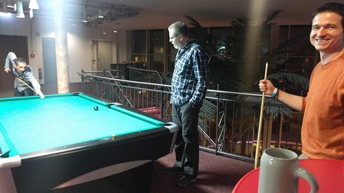 Playing pool with Adam and the Swiss contingent