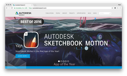 The award-winning Autodesk Research website featuring the award-winning SketchBook Motion app