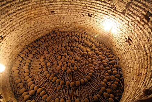 An ossary in Lima's catacombs