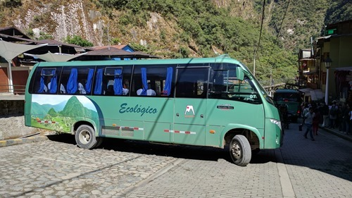 One of the buses taking people up to Machu Picchu from Aguas Calientes