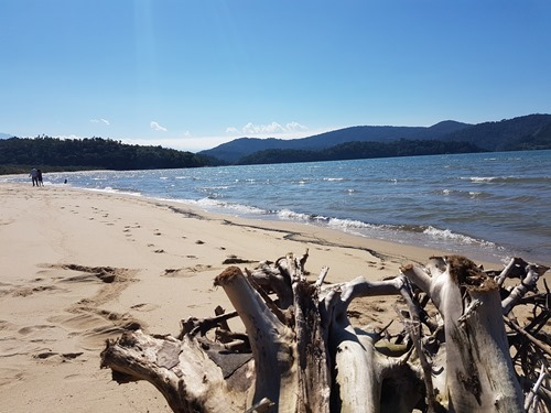 A view along the beach at Paraty-Mirim