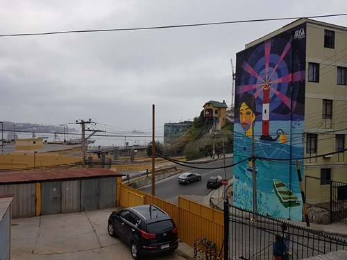A mural and a nearby funicular