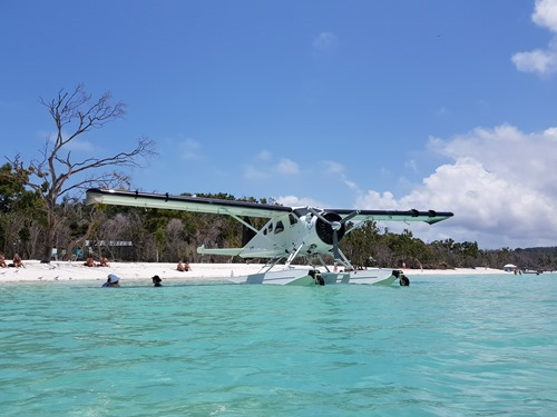 A boat plane that flew people in