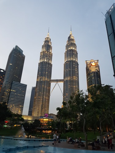 The KL Twin Towers at dusk