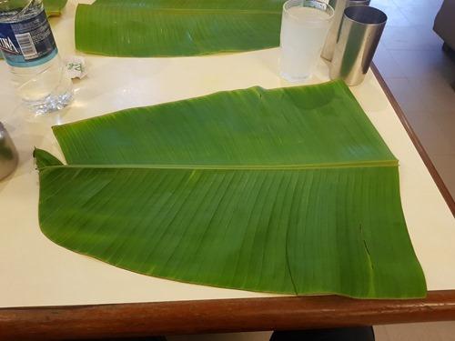An empty banana leaf