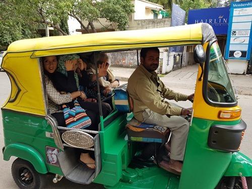 Driving in an autorickshaw