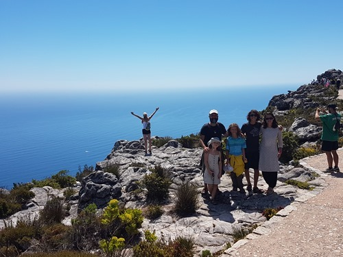 A family photo on Table Mountain in Cape Town