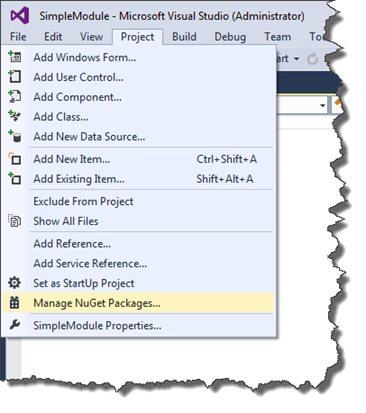 Manage NuGet packages menu option