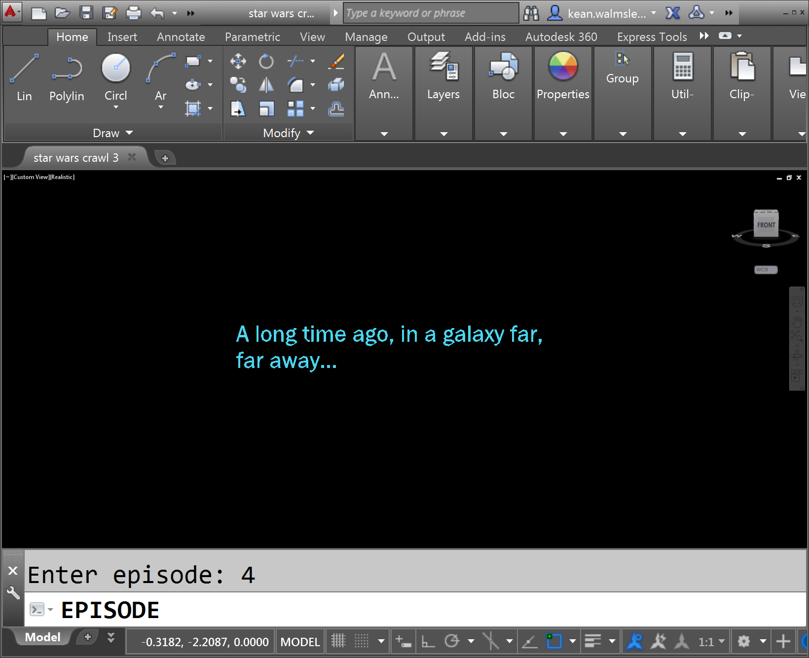 Recreating the Star Wars opening crawl in AutoCAD using F# Part 1