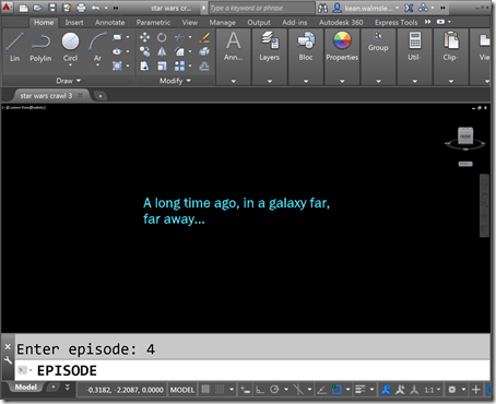 A sneak peek at the Star Wars opening crawl inside AutoCAD
