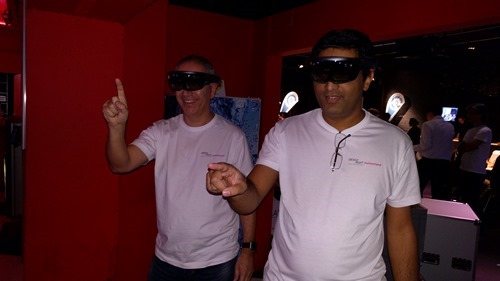 Fernando and Hashim getting to grips with HoloLens