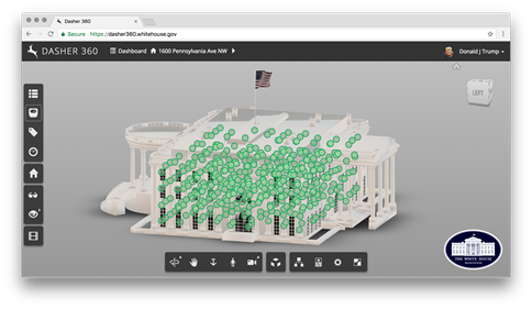 The White House in Dasher 360 with sensors
