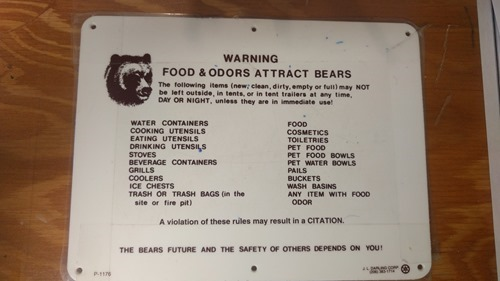 Food warning in Yellowstone