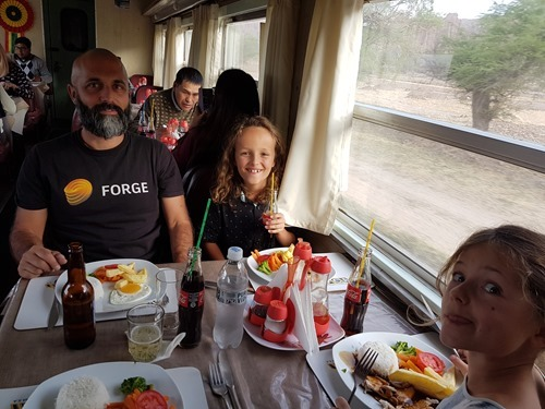 Eating on the train to Bolivia