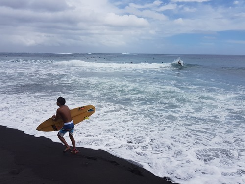 Surfers in and out of the sea