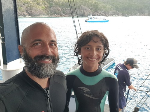 Kean and Kalan after the dive