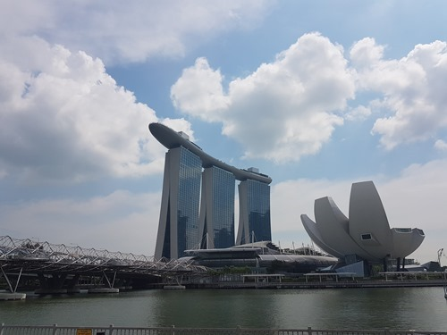 The Helix Bridge, the Marina Bay Sands and the ArtScience Museum
