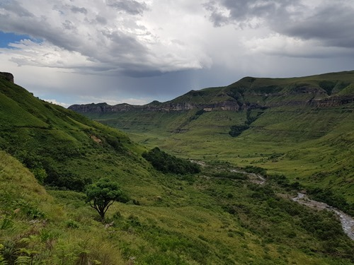 The way back, with storms over the other side of the valley