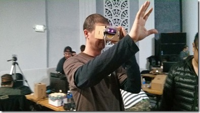 Someone using Google Cardboard with Leap Motion via the Android SDK