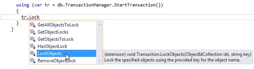 Our extension methods on the Transaction object