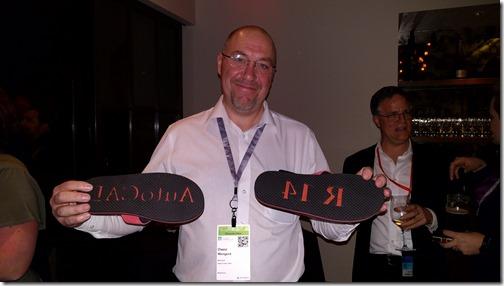 Owen, the proud owner of some R14 flip-flops